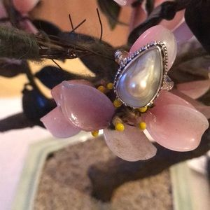 Vintage 925 natural white blister pearl ring